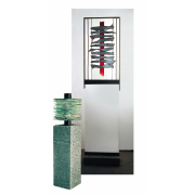 """2 Glasstelen"""" Schichtung"""" Eine Gegenüberstellung von zwei Varianten- Glasskulptur-Bleiverglasung-Glaskunst-Glasdesign"""
