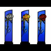 Glasstelen Rosen in 3 Fatben Glasmalerei -Glasmalerei-Bleiverglasung-Glasdesign