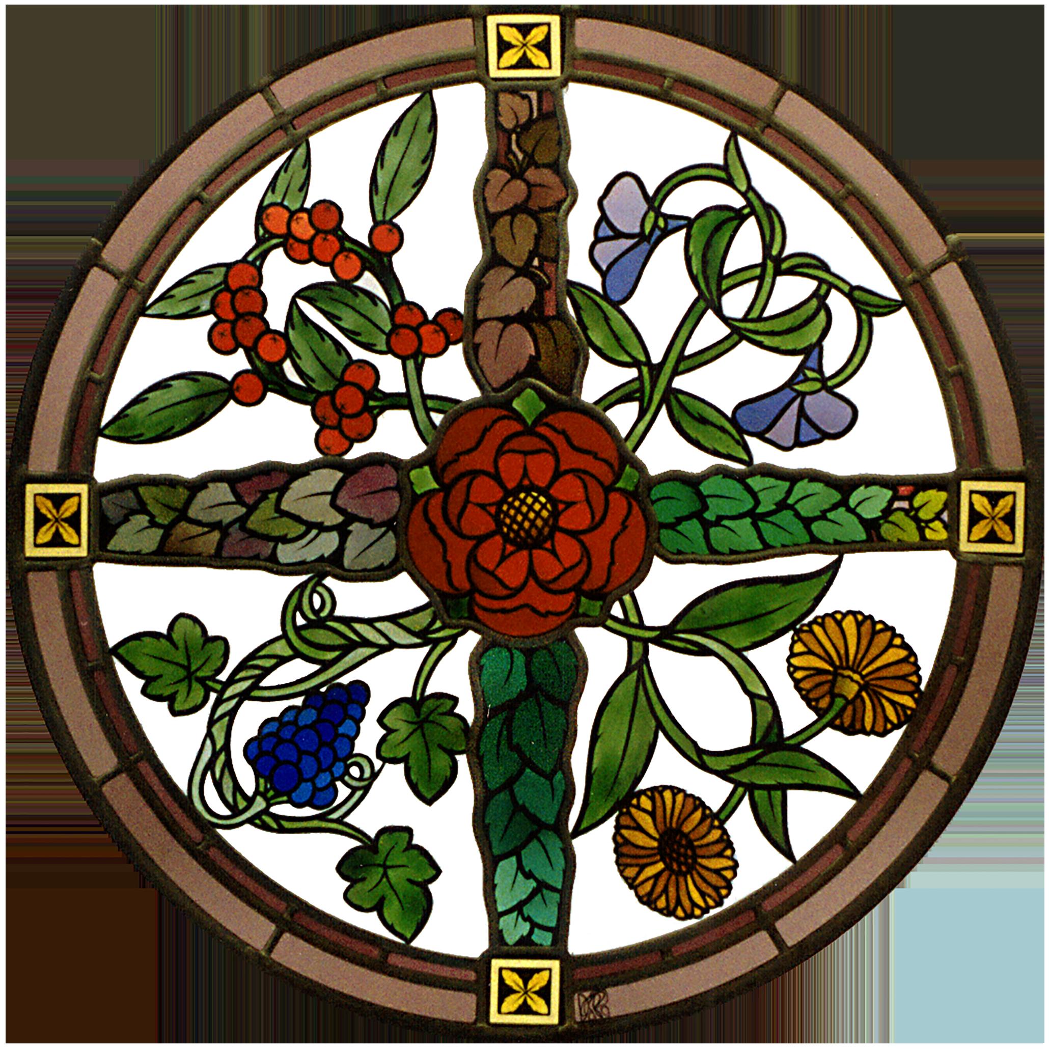 Wappenscheibe vier Jahreszeiten-Glasmalerei-Bleiverglasung-Glasdesign
