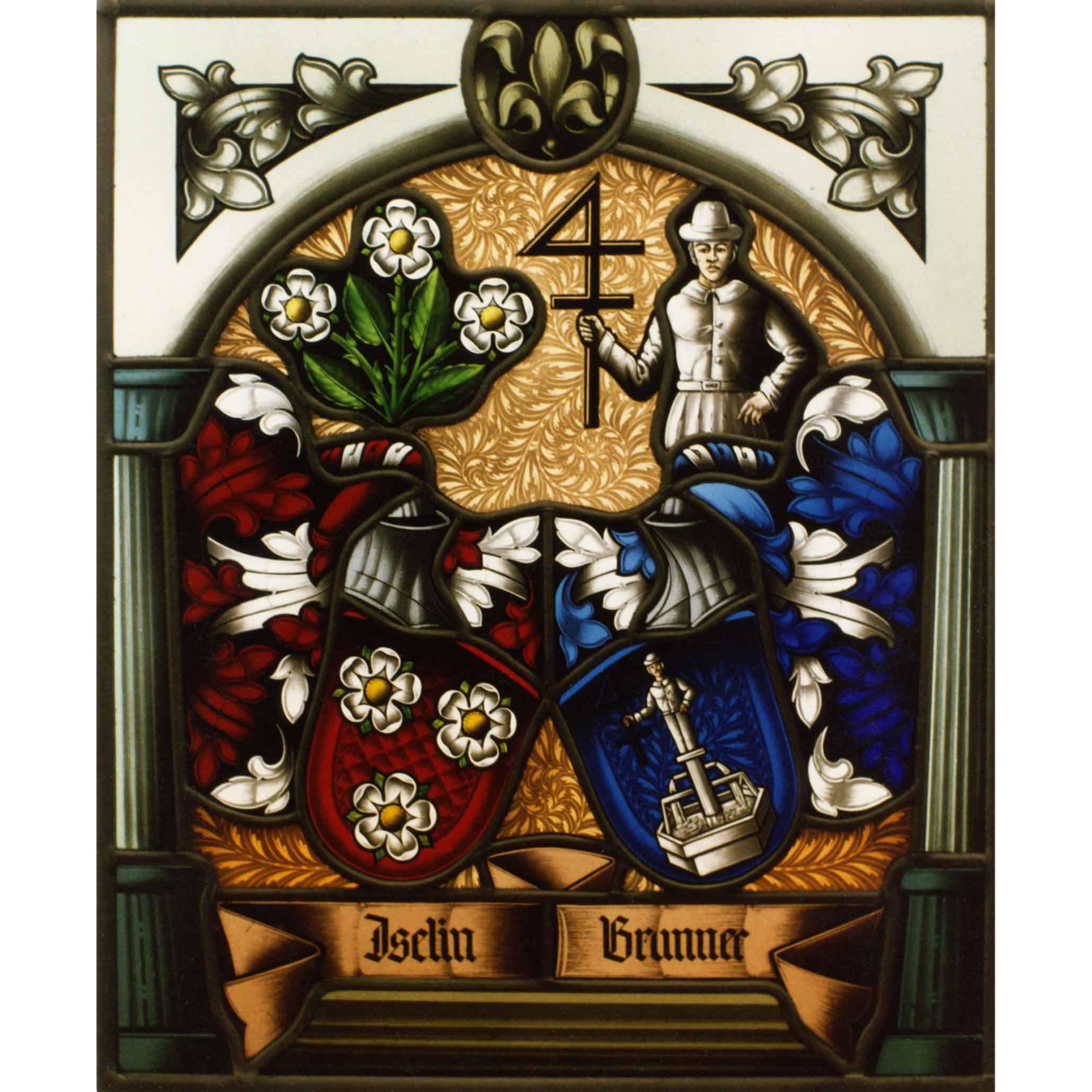 Allianz - Familienwappen radiert - Wappenscheibe-Glasmalerei- Bleiverglasung