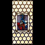 Bleiverglasung mit Butzenscheiben und integriertem Vollwappen von Castelberg -Glasmalerei-Bleiverglasung-Wappenscheibe