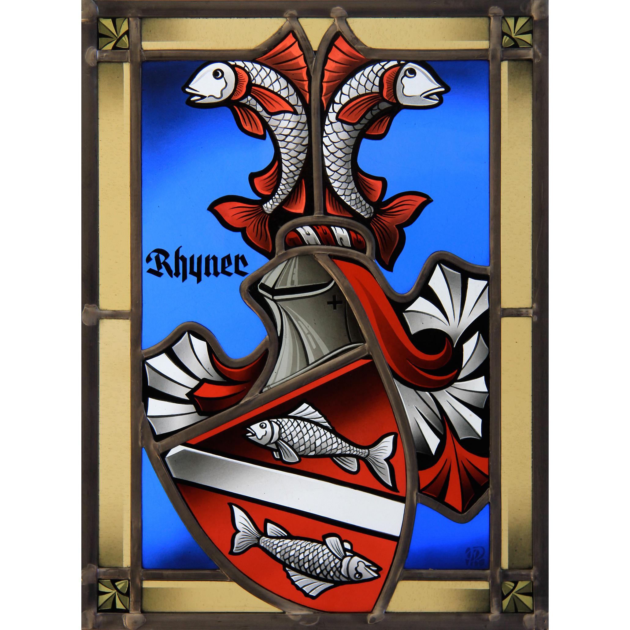 Familienwappen schattiert – Glasmalerei-Bleiverglasung -Wappenscheibe