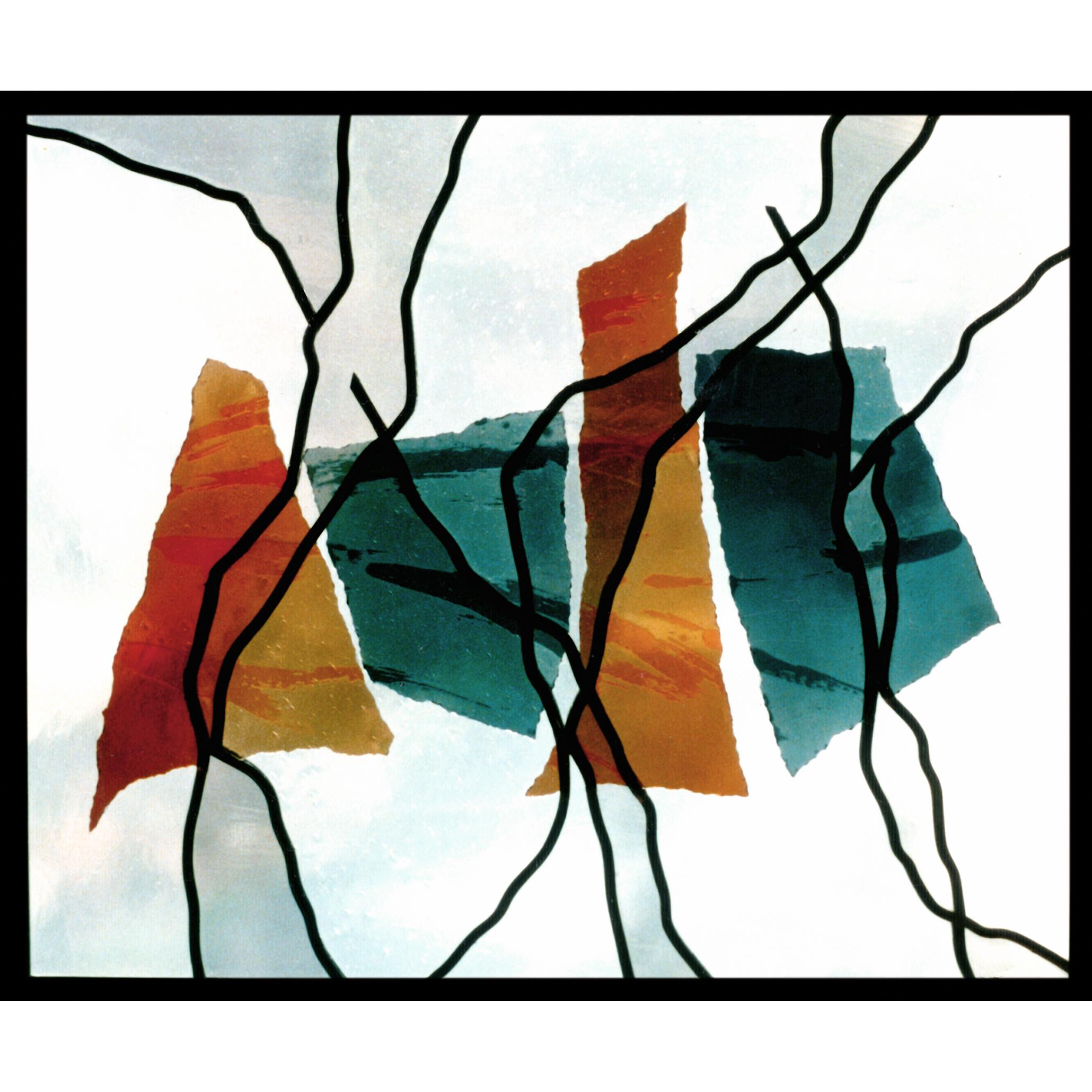 Gerissen: Glaskomposition Collage und Bleiverglasung -Glas-Design-Glaskunst-Glasmalerei-Bleiverglasung