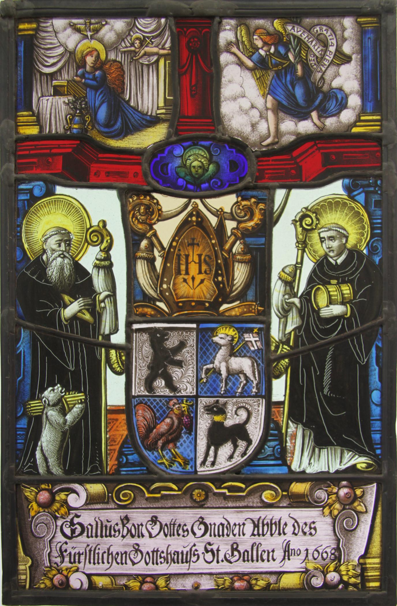 Abtscheibe Kloster St.Gallen – Atelier für Glasmalerei Peter Kuster