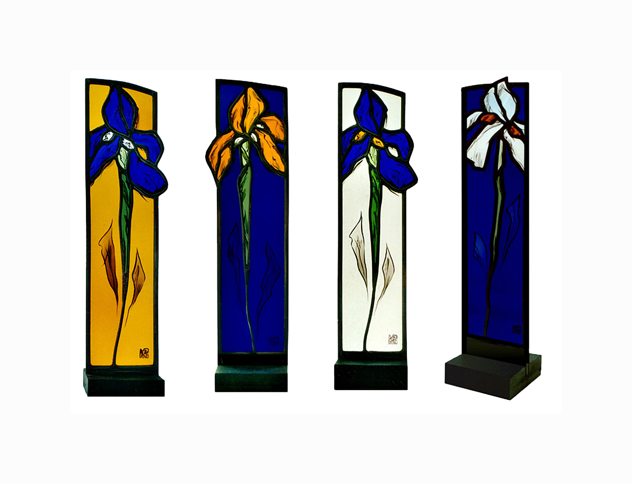 Glasstelen auf Schiefersockel - Iris – Atelier für Glasmalerei - PeterGlasmalerei Peter Kuster