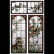 Jugendstilfenster Jagtmotiv Restauration --Bleiverglasung-Glasmalerei