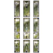 Jugenstilfenster mit Bleiverglasung -Glasmalerei
