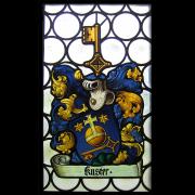 Kuster Familienwappen in Butzenscheibe integriert -Glasmalerei-Bleiverglasung-Wappenscheiben