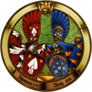 Allianz.-Familienwappen Baumann-Maag Glasmalerei-Bleiverglasung-Wappenscheibe
