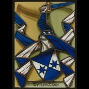 Familienwappen Weilenmann lasiert -Glasmalerei-Bleiverglasung-Wappenscheibe