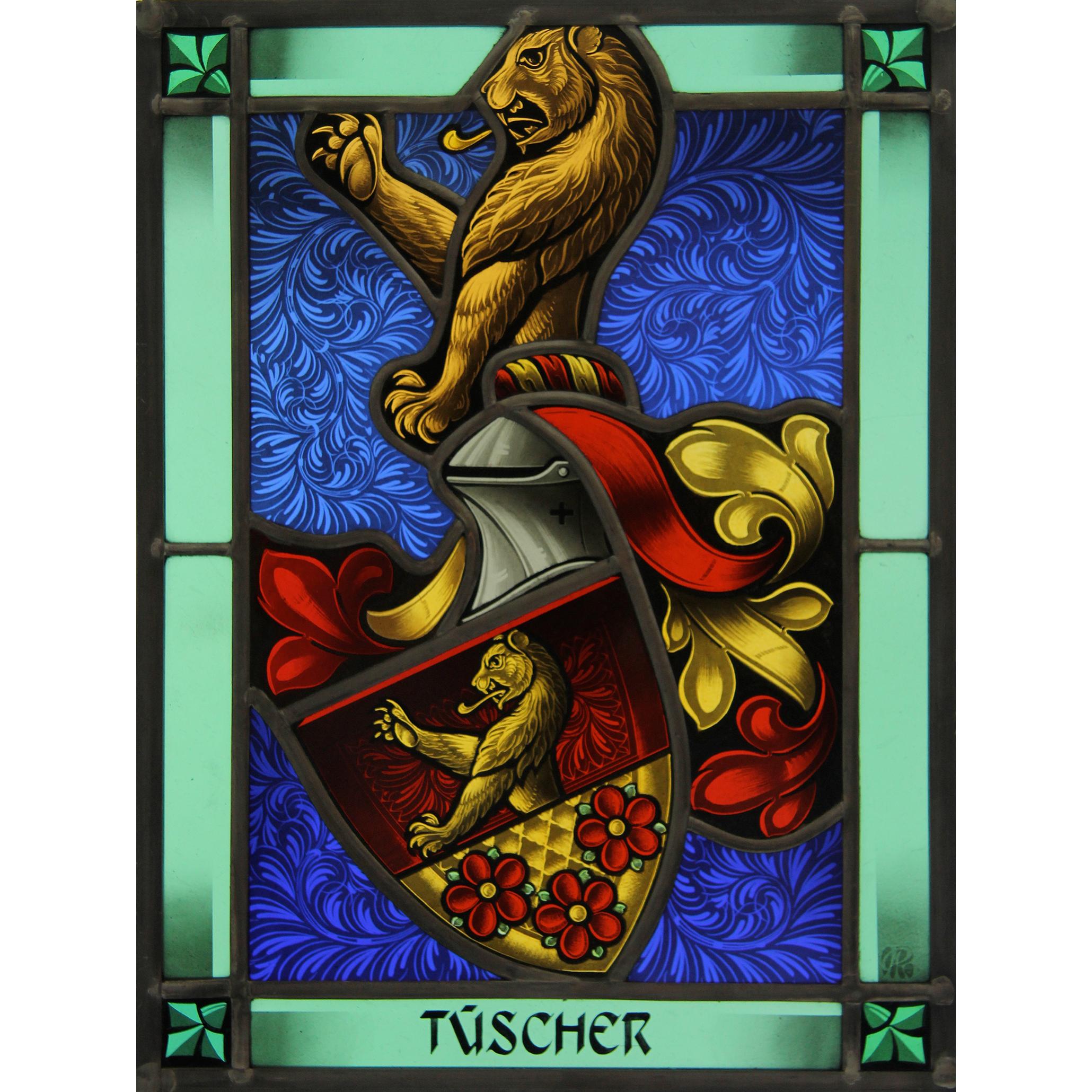 Familienwappen Tüscher radiert -Glasmalerei-Bleiverglasung-Wappenscheibe