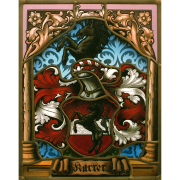 Familienwappen Karrer radiert-Glasmalerei-Bleiverglasung-Wappenscheibe