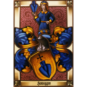 Familienwappen Honegger radiert- Glasmalerei-Bleiverglasung-Wappenscheibe-Heraldik