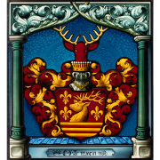 Familienwappen des Adels Glasmalerei-Bleiverglasung-Wappenscheibe-Heraldik
