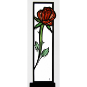 Glasstele Rose-rot -Glasmalerei-Bleiverglasung-Glasdesign