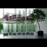 Glaskunst – Team – Peter Kuster Glas-Design -Gruppe von 7 Glasstelen Glasmalerei-Bleiverglasung-Glasdesign