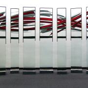 Glaskunst – Team – Gruppe von 7 Glasstelen -Peter Kuster7-teilige Glasskulptur- Glasmalerei-Bleiverglasung-Glasdesign