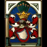 Familienwappen in Architektur radiert- Wappenscheibe -Glasmalerei-Bleiverglasung -Heraldik