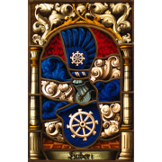 Familienwappen radiert Wappenscheibe -Glasmalerei-Bleiverglasung -Heraldik