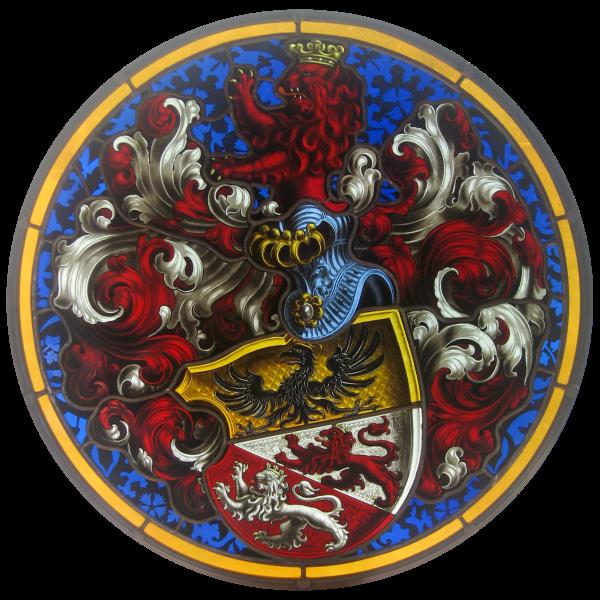 Antikes Vollwappen des Adels Familienwappen -Bleiverglasung -Wappenscheibe-Familienwappen