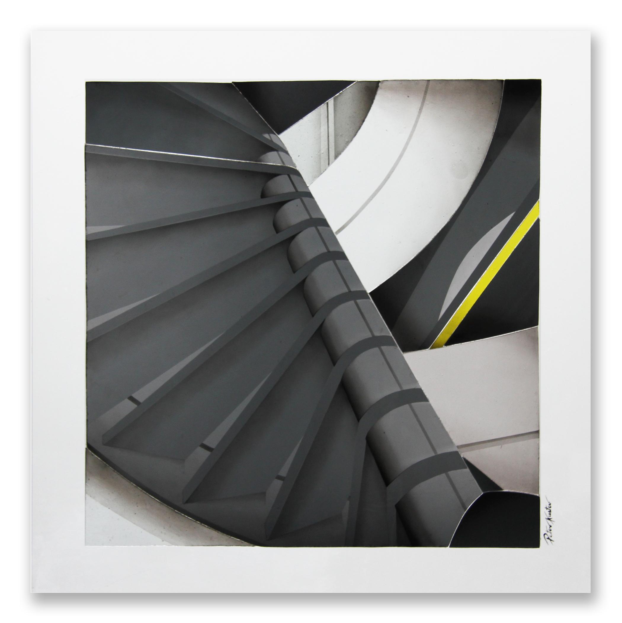 Glascollage - Aufstieg 1 anthrazit – Atelier für Glasmalerei - Peter Kuster