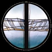 Moderne Glasmalerei – Rosette Sunnehus Wildhaus – Entwurf und Ausführung Peter Kuster -Glasmalerei-Bleiverglasung-Glaskunst-Glasdesign