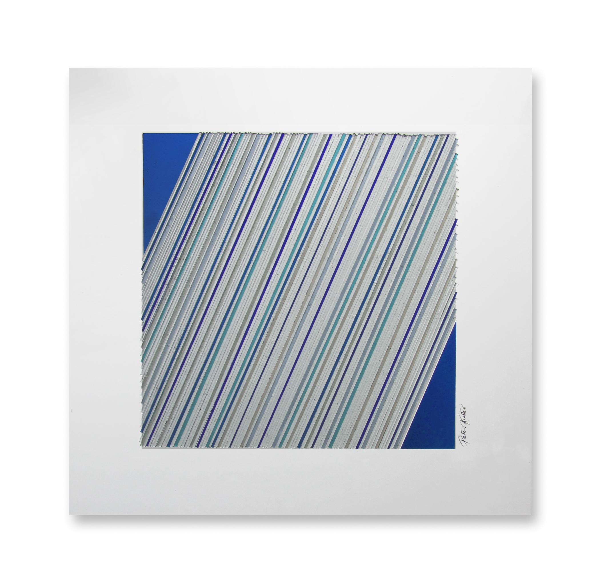 Glascollage - schräg blau– Atelier für Glasmalerei - Peter Kuster