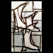Moderne Glasmalerei Komposition Schulthess Schuhe Wappenscheibe -Wappenscheibe-Glasmalerei-Bleiverglasung-Glasdesign