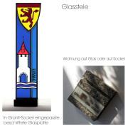 Wappenstele Verankerung und Widmung -Glasmalerei -Glasdesign-Bleiverglasung