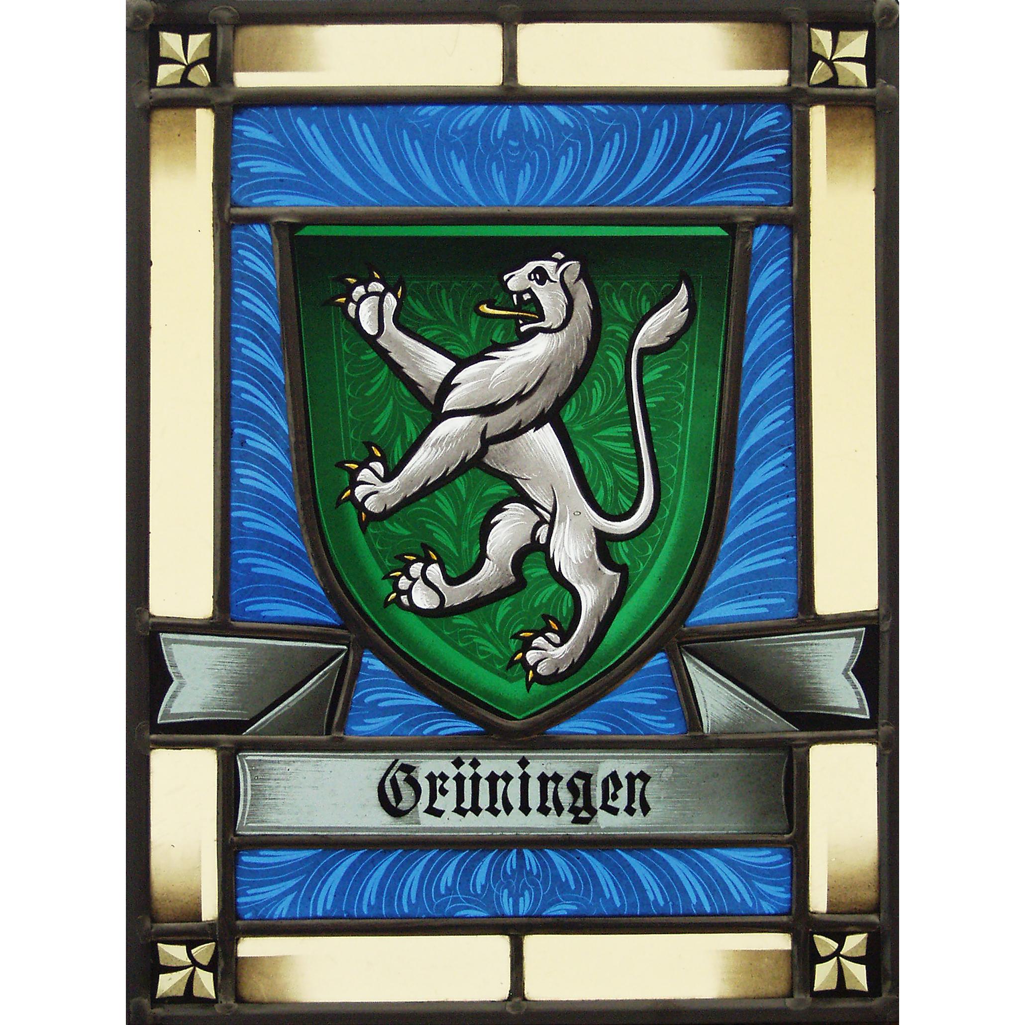Wappenscheibe Grüningen – Grisailles -Bleiverglasung-Wappenscheibe Glasmalerei